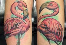 Lovely Flamingo Forearm Tattoos