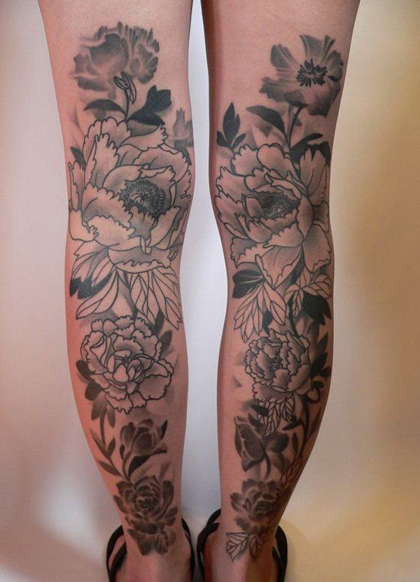 Peonies Calf Tattoos Amazing Tattoo Ideas