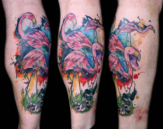 Watercolor Flamingos Calf Tattoo