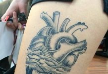 Landscape Heart Thigh Tattoo