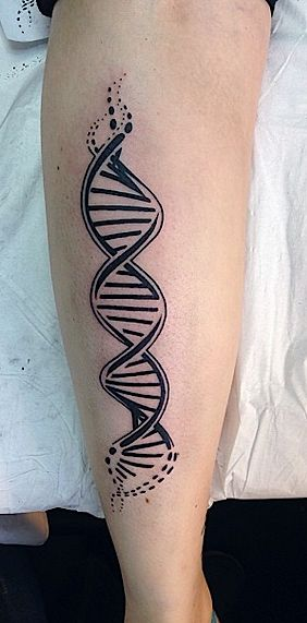 Simple Black Double Helix Tattoo