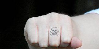 Simple Skull and Crossbones Finger Tattoo