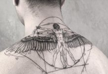 Winged Vitruvian Man Upper Back Tattoo