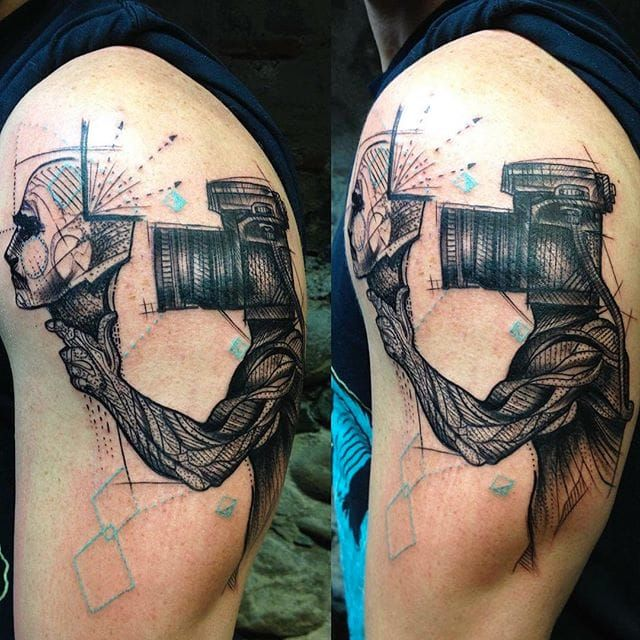 Linework Photography Arm Tattoo
