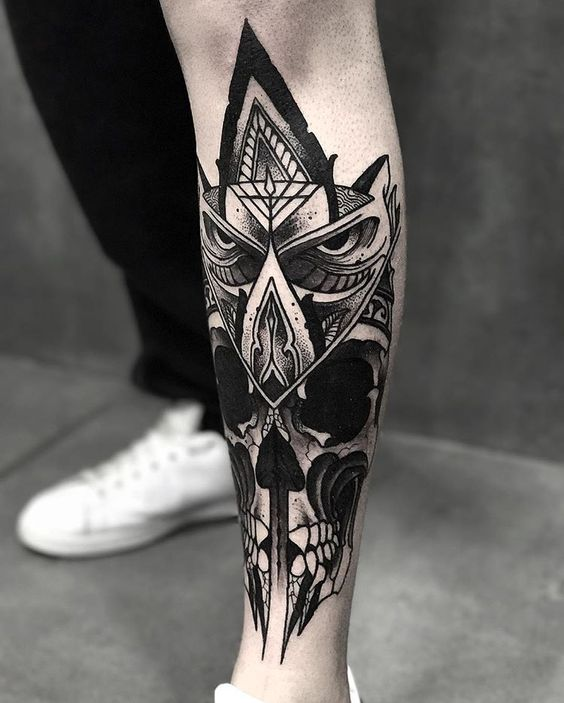 Badass Sugar Skull Owl Leg Tattoo Amazing Tattoo Ideas