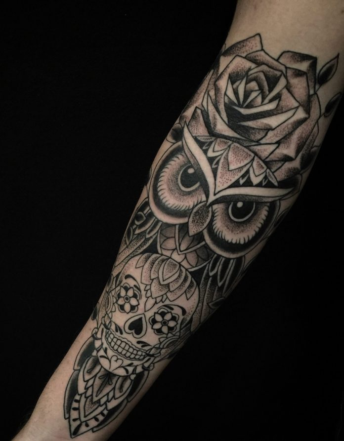 Blackwork And Dotwork Sugar Skull Owl Arm Tattoo