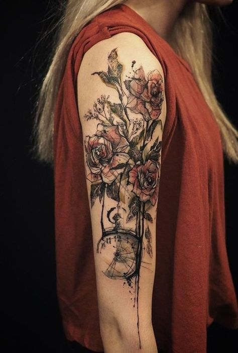 Geometric Floral Bouquet Upper Arm Tattoo