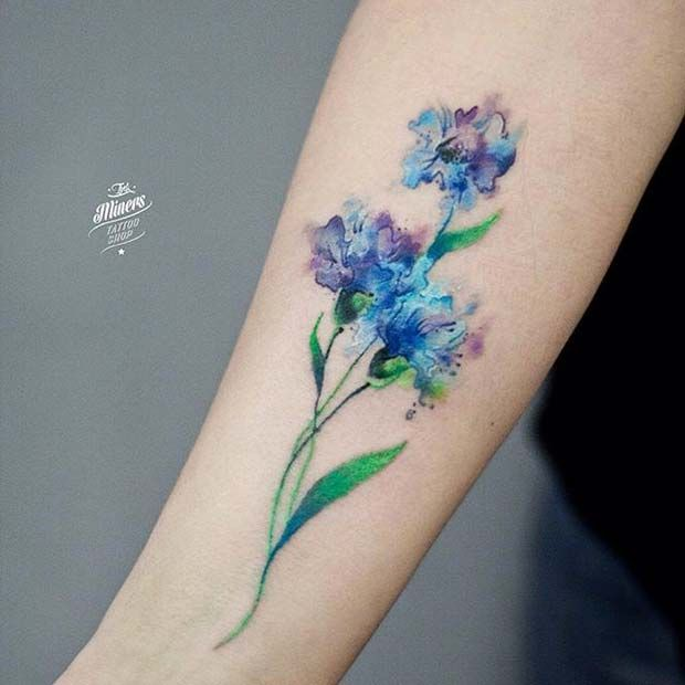 40 breathtaking watercolor flower tattoo designs amazing for Forearm flower tattoos