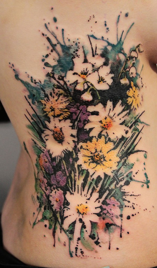 40 breathtaking watercolor flower tattoo designs amazing tattoo ideas. Black Bedroom Furniture Sets. Home Design Ideas