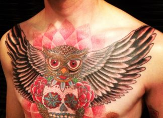 Neo Traditional Sugar Skull Owl Chest Tattoo