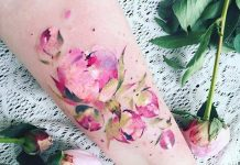 Peony Flower Watercolor Forearm Tattoo