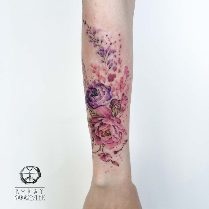 40 breathtaking watercolor flower tattoo designs amazing tattoo ideas 23pink and purple floral arrangement arm tattoo mightylinksfo