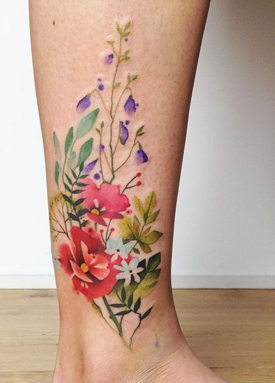 40 breathtaking watercolor flower tattoo designs amazing. Black Bedroom Furniture Sets. Home Design Ideas
