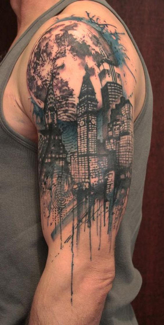 Watercolor Cityscape Half Sleeve Tattoo