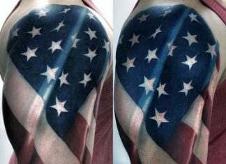 3D Waving American Flag Tattoo