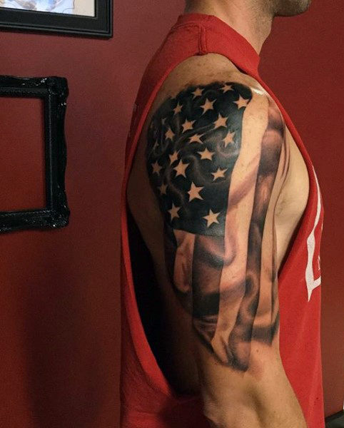 American Flag In Motion Sleeve Tattoo