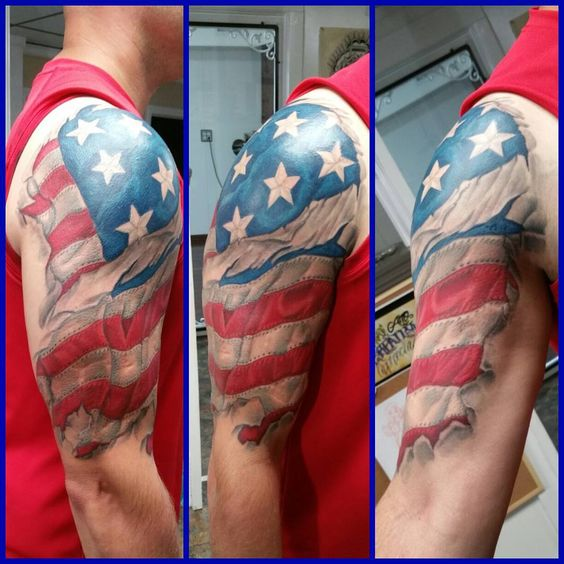 17american Flag Upper Arm Sleeve Tattoo