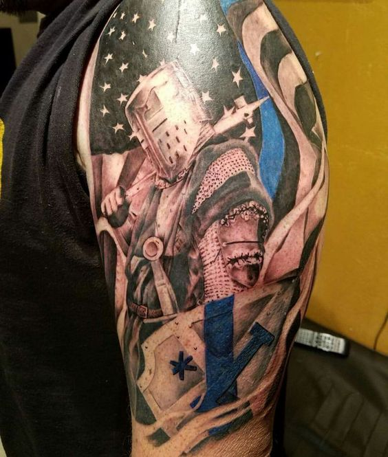 American Flag With Warrior Tattoo