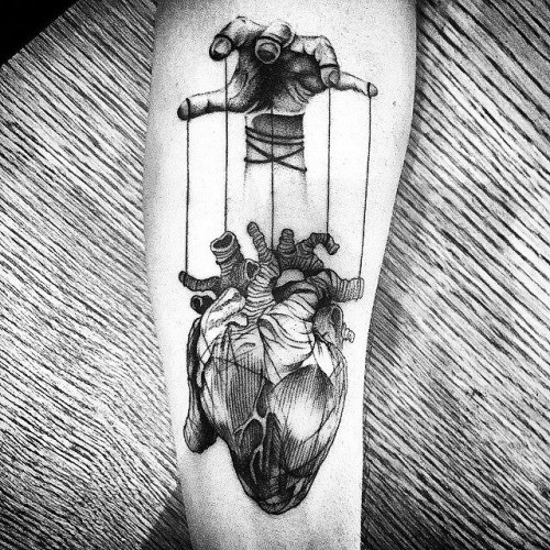 Anatomical Heart Of A Puppeteer Tattoo