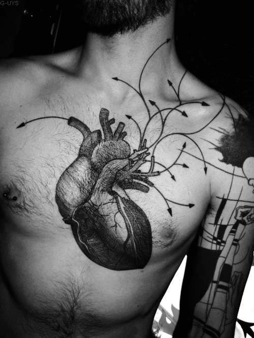 Anatomical Heart With Arrows Chest Tattoo