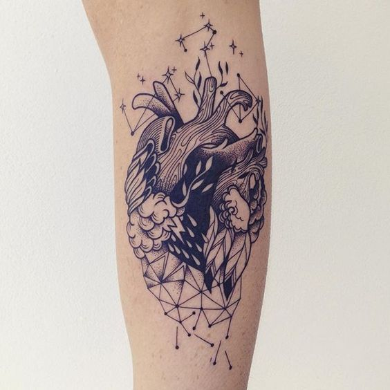 Contemporary Anatomical Heart Tattoo
