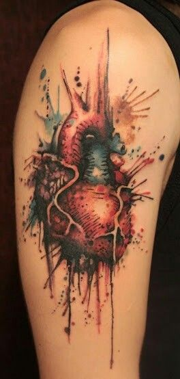 Dripping Watercolor Heart Arm Tattoo