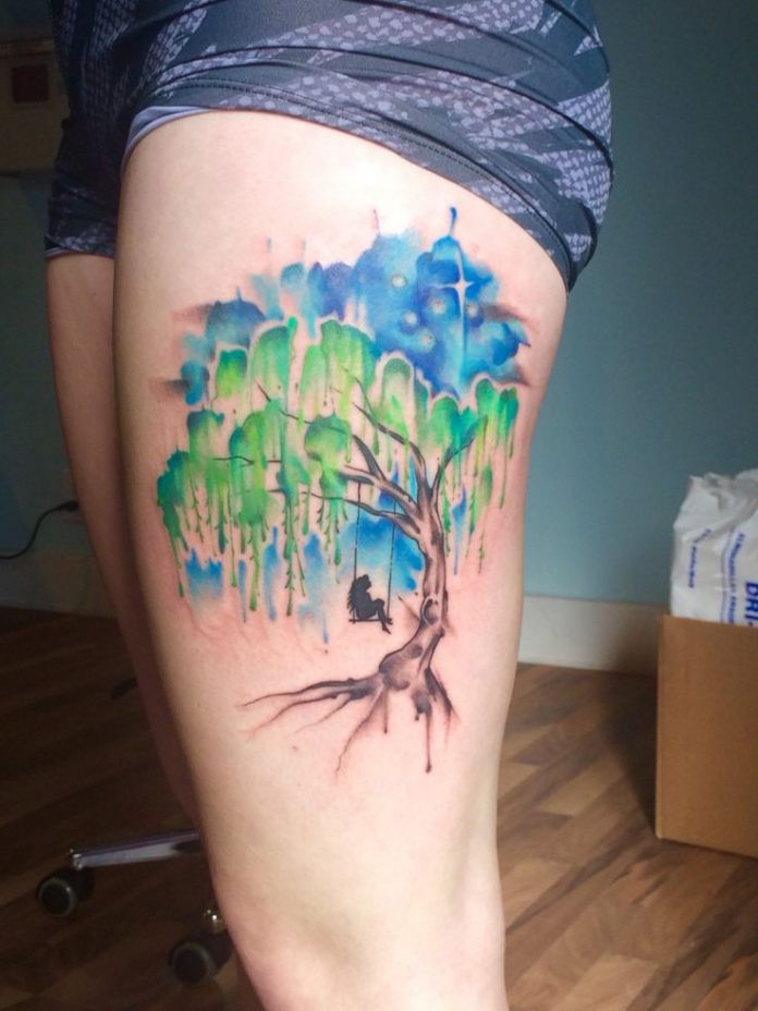 Dripping Watercolor Tree Thigh Tattoo