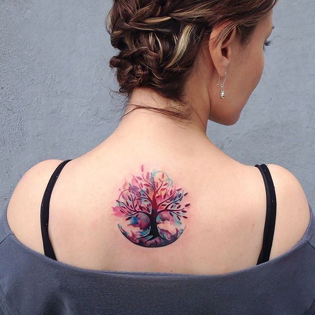 Gorgeous Watercolor Tree Back Tattoo