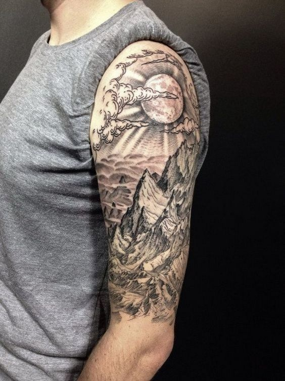 Landscape Half Sleeve Tattoo Amazing Tattoo Ideas