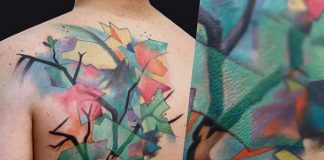 Mosaic Watercolor Tree Back Tattoo