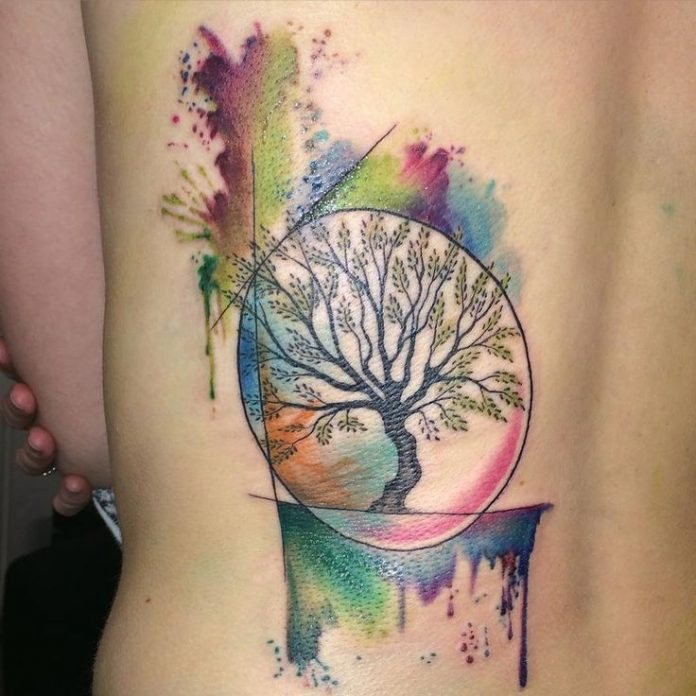 Neo Traditional Watercolor Tree Back Tattoo