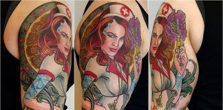 Ornamental Pin Up Nurse Sleeve Tattoo