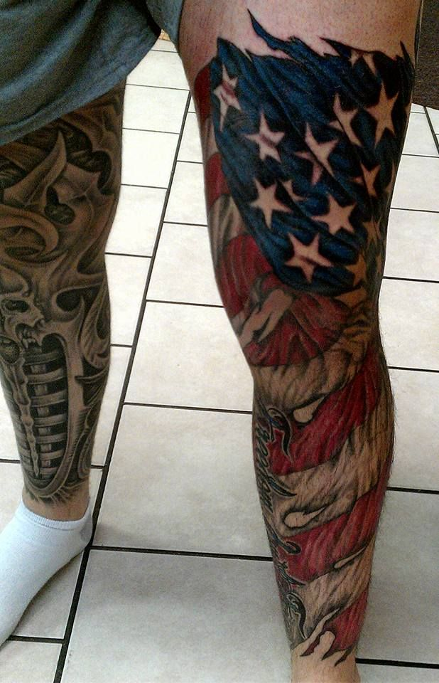 30 patriotic american flag tattoo sleeve amazing tattoo for Thigh sleeve tattoo