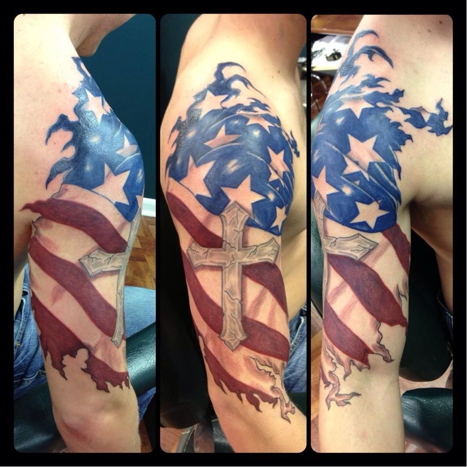 30 patriotic american flag tattoo sleeve amazing tattoo ideas. Black Bedroom Furniture Sets. Home Design Ideas