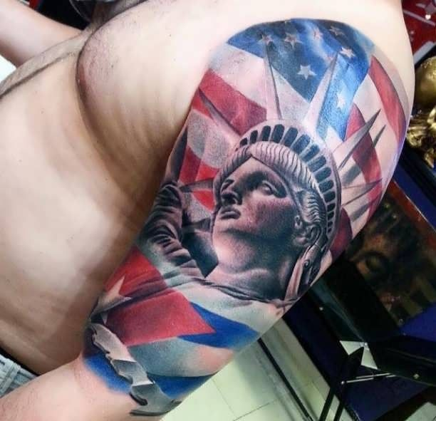 Statue Of Liberty With American Flag Sleeve Tattoo