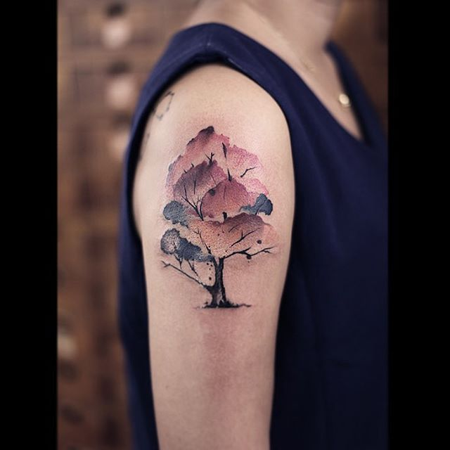 Sunset Inspired Watercolor Tree Arm Tattoo
