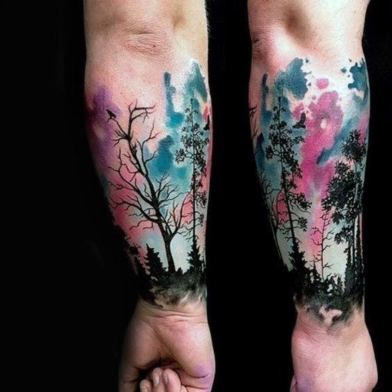 Watercolor With Tree Silhouette Sleeve Tattoo
