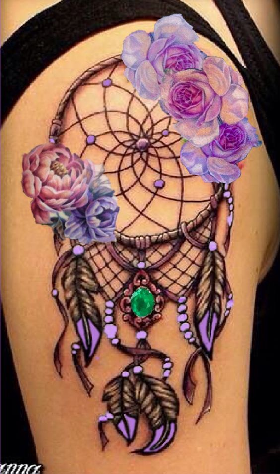 3D Floral Dreamcatcher Tattoo