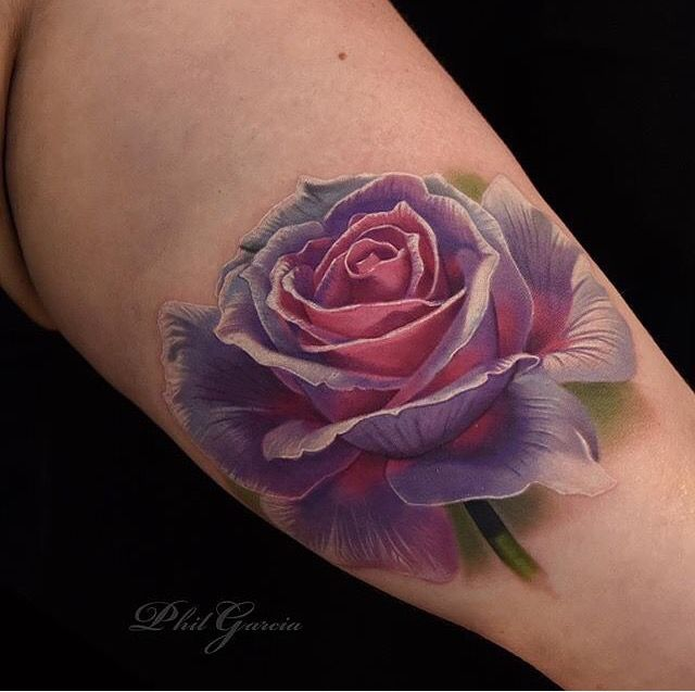 3D Gradient Rose Arm Tattoo