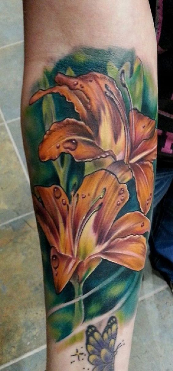 3D Lily Forearm Tattoo
