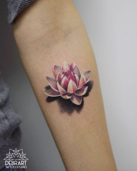 3D Lotus Forearm Tattoo