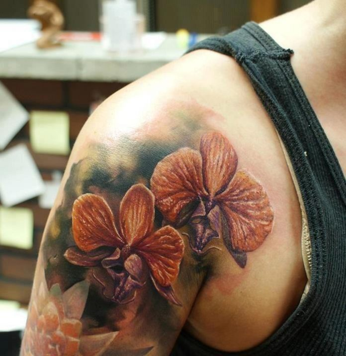 3D Orchid Shoulder Tattoo