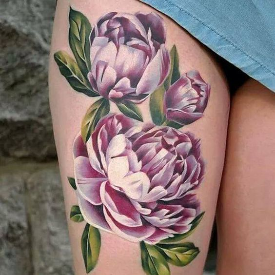 3D Peonies Thigh Tattoo