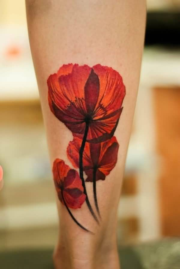 3D Poppy Leg Tattoo