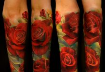 3D Red Roses Sleeve Tattoo