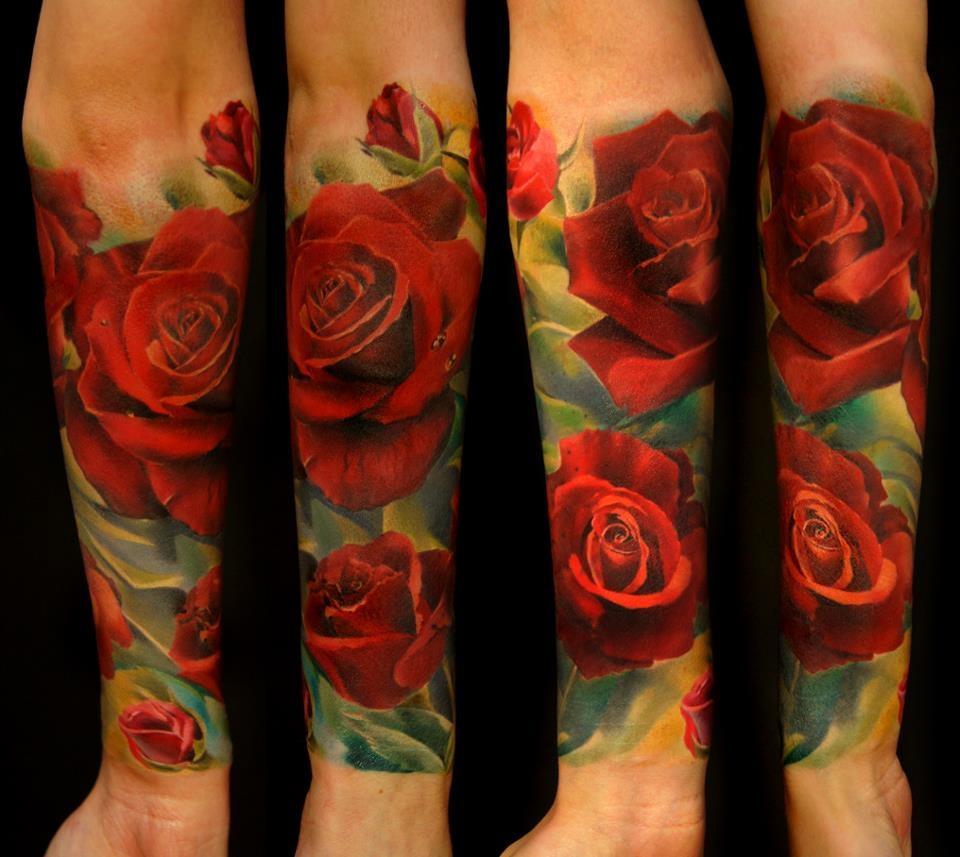 36 picturesque 3d flower tattoo designs amazing tattoo ideas for Rose tattoo sleeve
