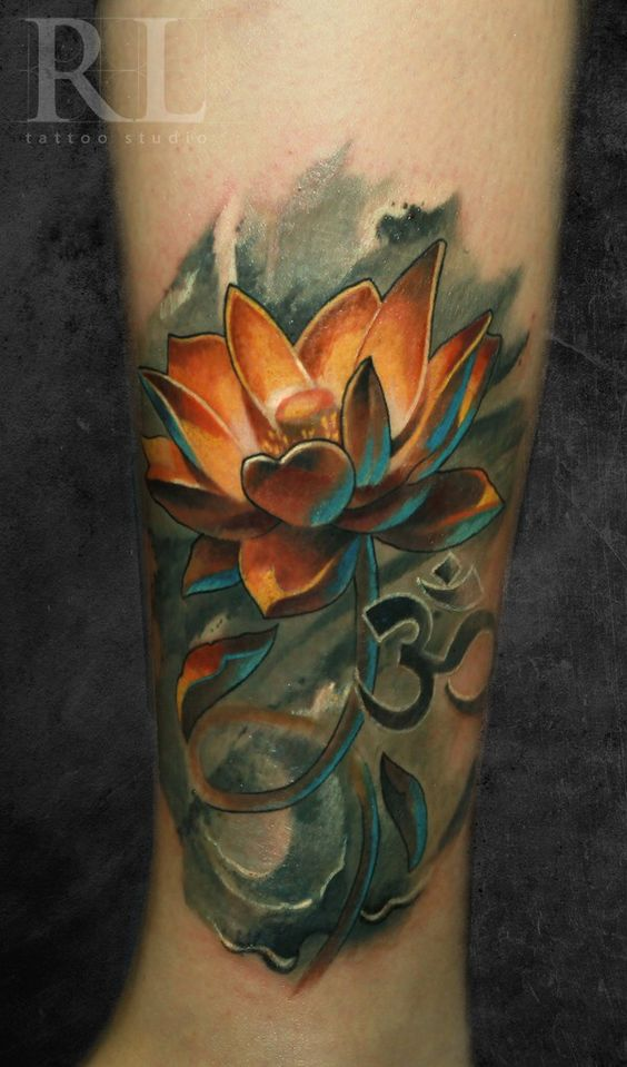 3D Smokey Lotus Tattoo