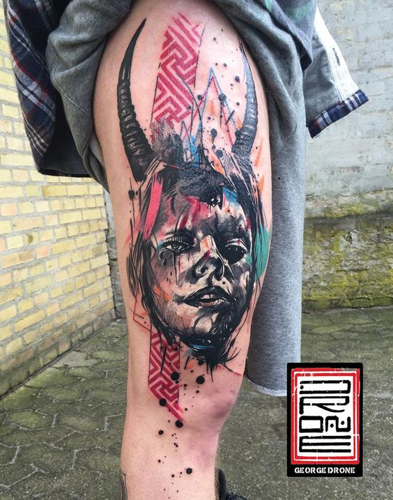 Abstract Portrait Thigh Tattoo