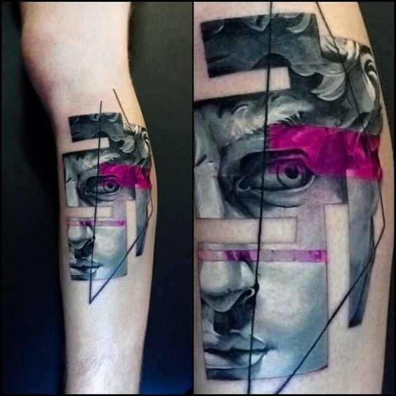 Abstract Style Portrait Tattoo