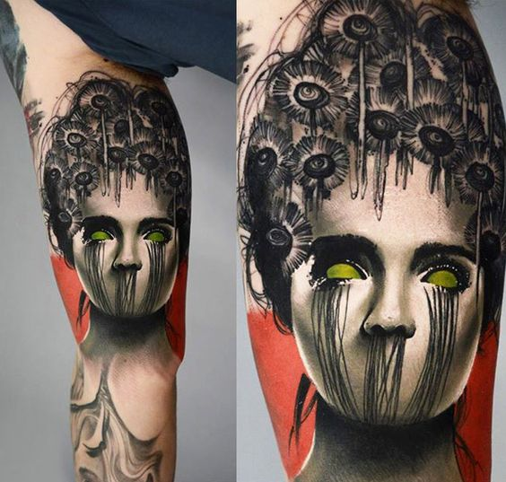 Abstract Woman Arm Tattoo